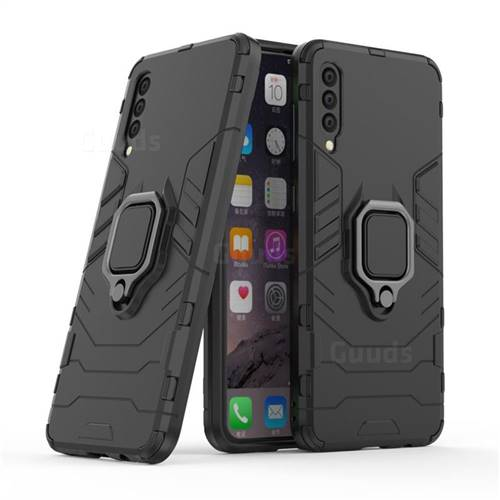Black Panther Armor Metal Ring Grip Shockproof Dual Layer Rugged Hard Cover for Samsung Galaxy A50 - Black