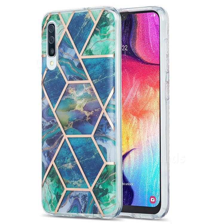 Blue Green Marble Pattern Galvanized Electroplating Protective Case Cover for Samsung Galaxy A50