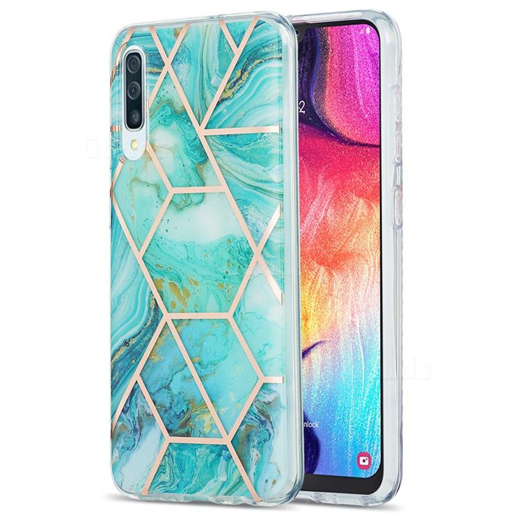 Blue Sea Marble Pattern Galvanized Electroplating Protective Case Cover for Samsung Galaxy A50