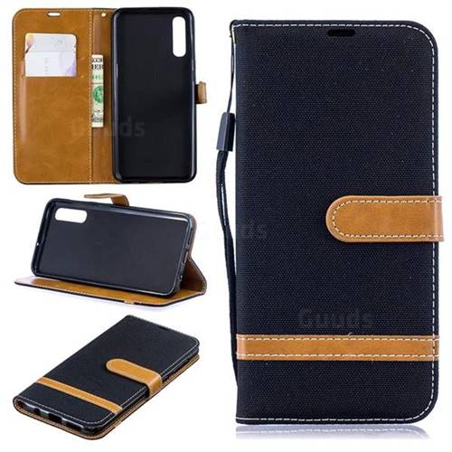 Jeans Cowboy Denim Leather Wallet Case for Samsung Galaxy A50 - Black