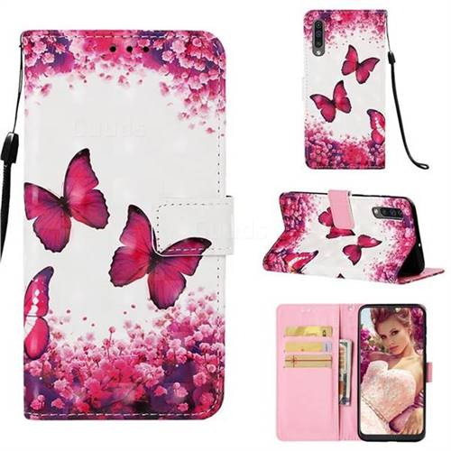 Rose Butterfly 3D Painted Leather Wallet Case for Samsung Galaxy A50