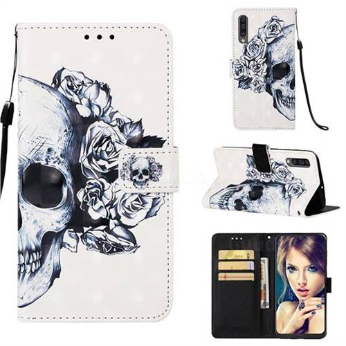 Skull Flower 3D Painted Leather Wallet Case for Samsung Galaxy A50