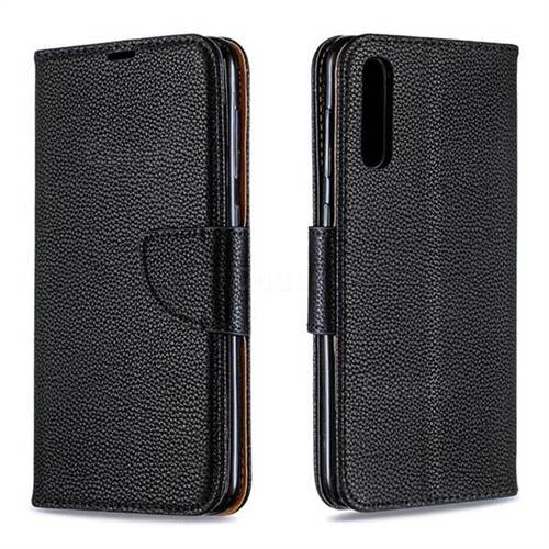 Classic Luxury Litchi Leather Phone Wallet Case for Samsung Galaxy A50 - Black