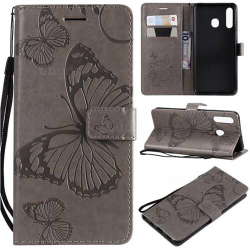 Embossing 3D Butterfly Leather Wallet Case for Samsung Galaxy A50 - Gray