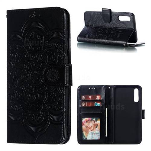 Intricate Embossing Datura Solar Leather Wallet Case for Samsung Galaxy A50 - Black