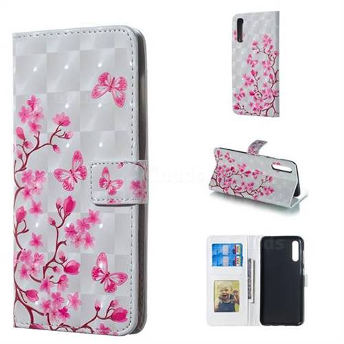 Butterfly Sakura Flower 3D Painted Leather Phone Wallet Case for Samsung Galaxy A50