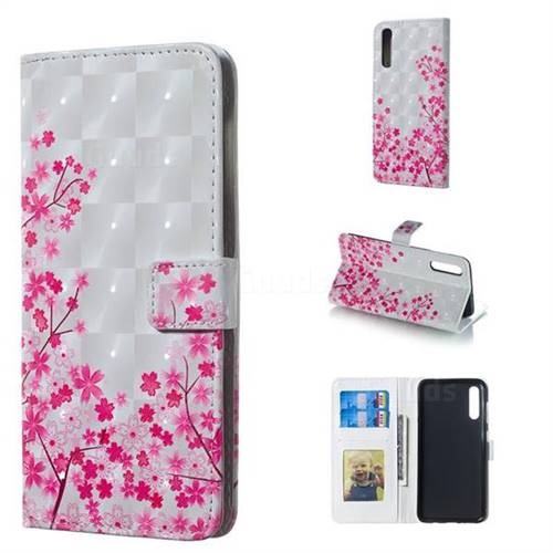 Cherry Blossom 3D Painted Leather Phone Wallet Case for Samsung Galaxy A50