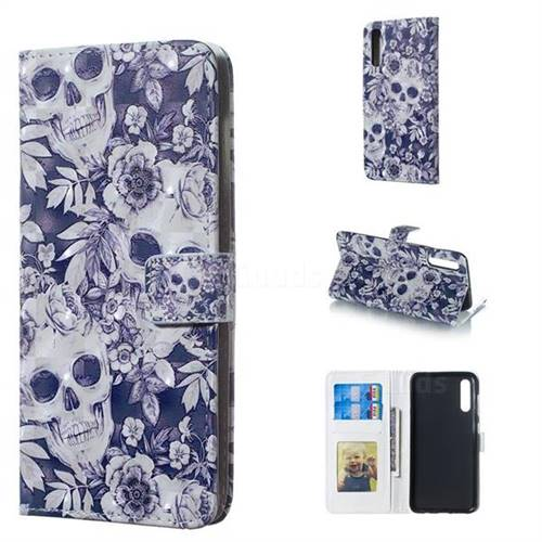 Skull Flower 3D Painted Leather Phone Wallet Case for Samsung Galaxy A50