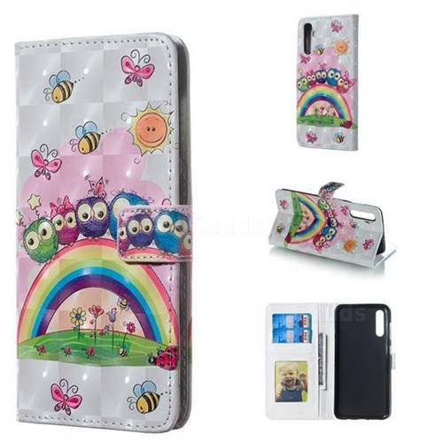 Rainbow Owl Family 3D Painted Leather Phone Wallet Case for Samsung Galaxy A50