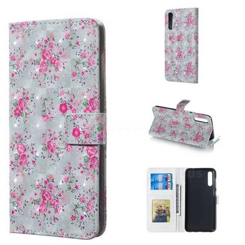 Roses Flower 3D Painted Leather Phone Wallet Case for Samsung Galaxy A50
