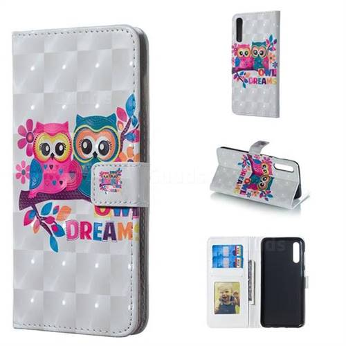 Couple Owl 3D Painted Leather Phone Wallet Case for Samsung Galaxy A50