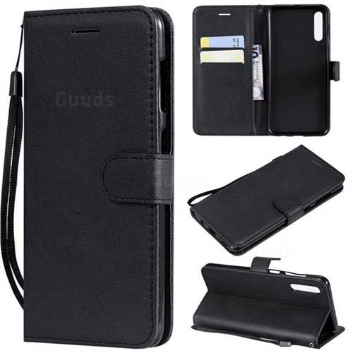 Retro Greek Classic Smooth PU Leather Wallet Phone Case for Samsung Galaxy A50 - Black
