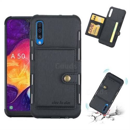 Brush Multi-function Leather Phone Case for Samsung Galaxy A50 - Black