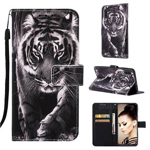 Black and White Tiger Matte Leather Wallet Phone Case for Samsung Galaxy A50