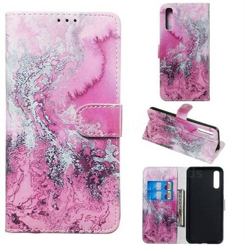 Pink Seawater PU Leather Wallet Case for Samsung Galaxy A50