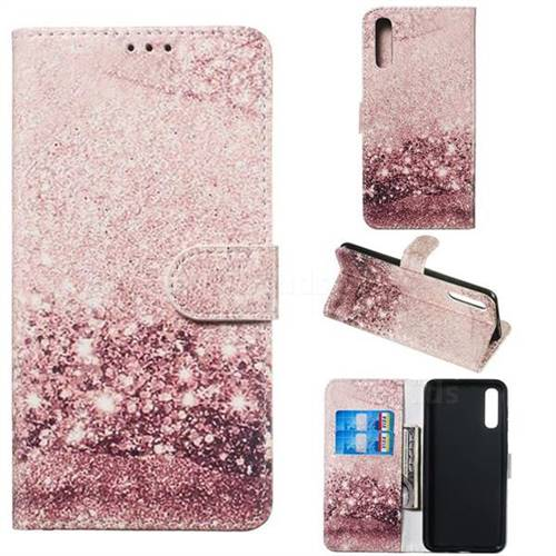 Glittering Rose Gold PU Leather Wallet Case for Samsung Galaxy A50