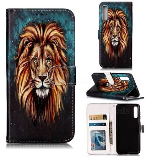 Ice Lion 3D Relief Oil PU Leather Wallet Case for Samsung Galaxy A50