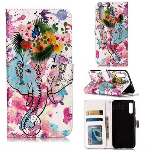 Flower Elephant 3D Relief Oil PU Leather Wallet Case for Samsung Galaxy A50