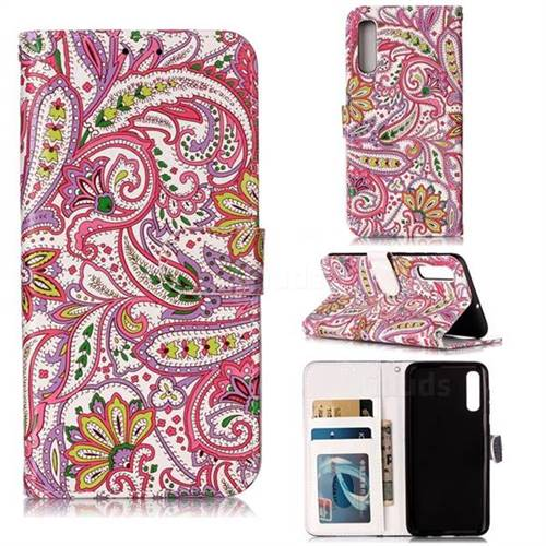 Pepper Flowers 3D Relief Oil PU Leather Wallet Case for Samsung Galaxy A50