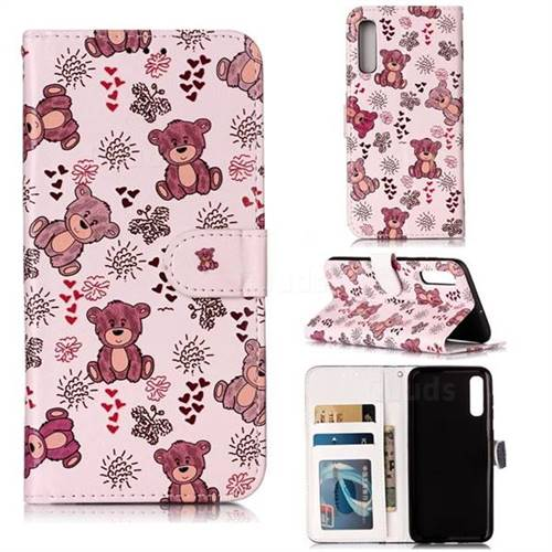 Cute Bear 3D Relief Oil PU Leather Wallet Case for Samsung Galaxy A50