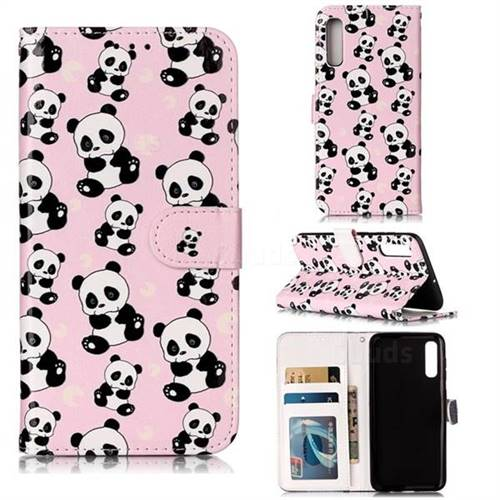 Cute Panda 3D Relief Oil PU Leather Wallet Case for Samsung Galaxy A50