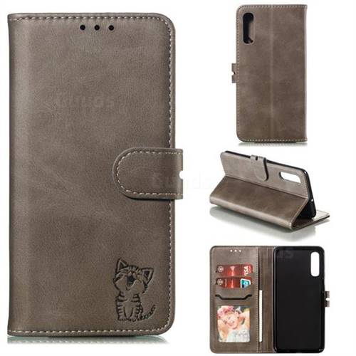 Embossing Happy Cat Leather Wallet Case for Samsung Galaxy A50 - Gray