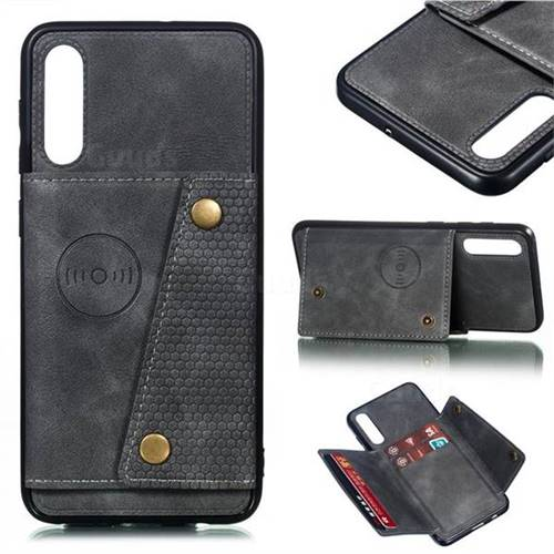 Retro Multifunction Card Slots Stand Leather Coated Phone Back Cover for Samsung Galaxy A50 - Gray