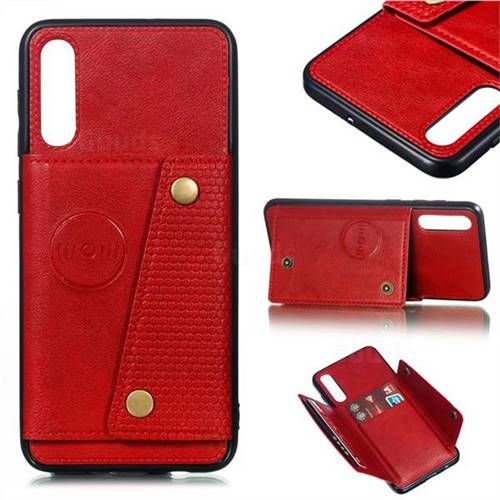 Retro Multifunction Card Slots Stand Leather Coated Phone Back Cover for Samsung Galaxy A50 - Red