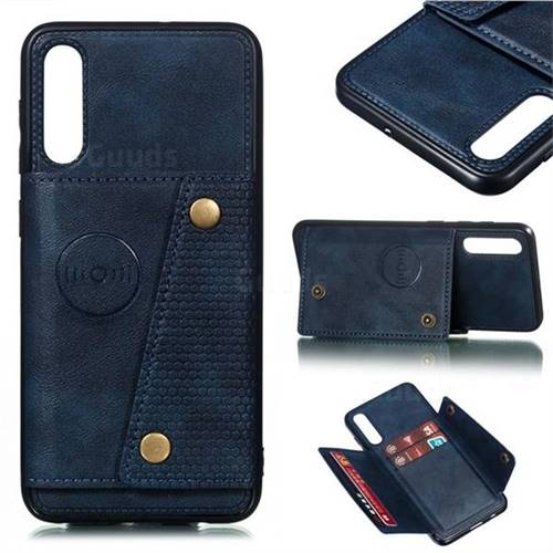 Retro Multifunction Card Slots Stand Leather Coated Phone Back Cover for Samsung Galaxy A50 - Blue