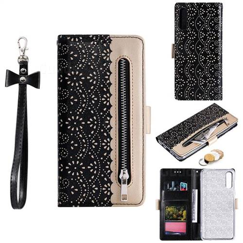 Luxury Lace Zipper Stitching Leather Phone Wallet Case for Samsung Galaxy A50 - Black