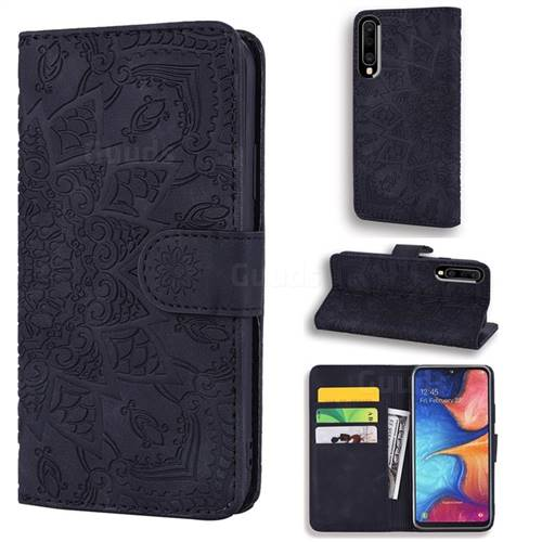 Retro Embossing Mandala Flower Leather Wallet Case for Samsung Galaxy A50 - Black