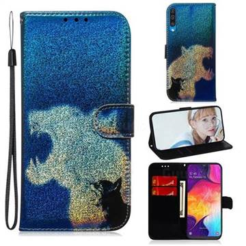 Cat and Leopard Laser Shining Leather Wallet Phone Case for Samsung Galaxy A50