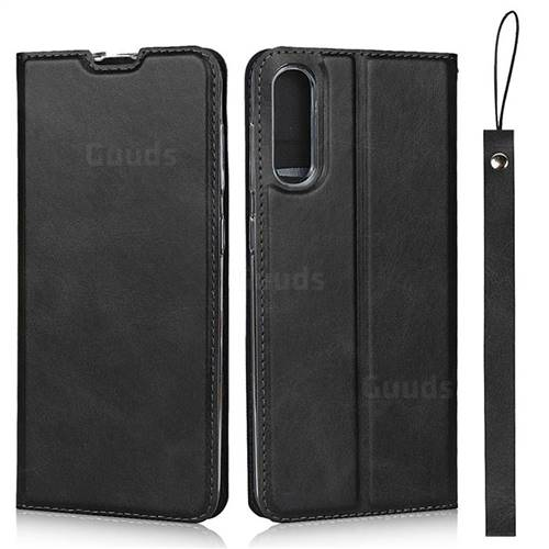 Calf Pattern Magnetic Automatic Suction Leather Wallet Case for Samsung Galaxy A50 - Black