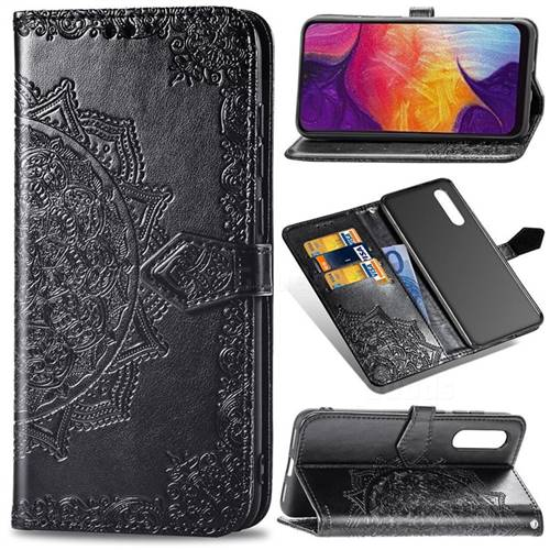 Embossing Imprint Mandala Flower Leather Wallet Case for Samsung Galaxy A50 - Black