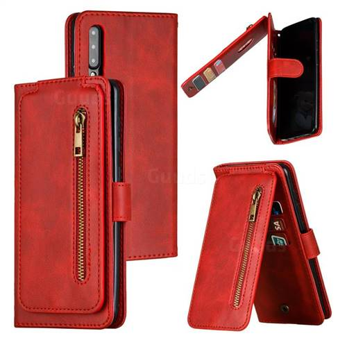 Multifunction 9 Cards Leather Zipper Wallet Phone Case for Samsung Galaxy A50 - Red