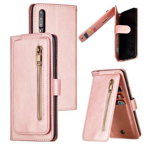 Multifunction 9 Cards Leather Zipper Wallet Phone Case for Samsung Galaxy A50 - Rose Gold