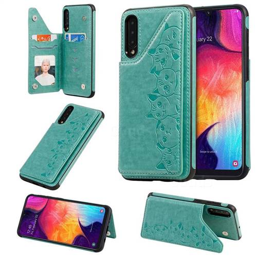 Yikatu Luxury Cute Cats Multifunction Magnetic Card Slots Stand Leather Back Cover for Samsung Galaxy A50 - Green