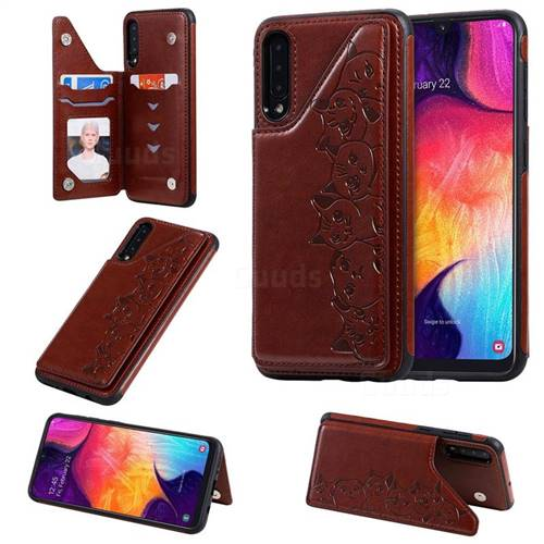Yikatu Luxury Cute Cats Multifunction Magnetic Card Slots Stand Leather Back Cover for Samsung Galaxy A50 - Brown