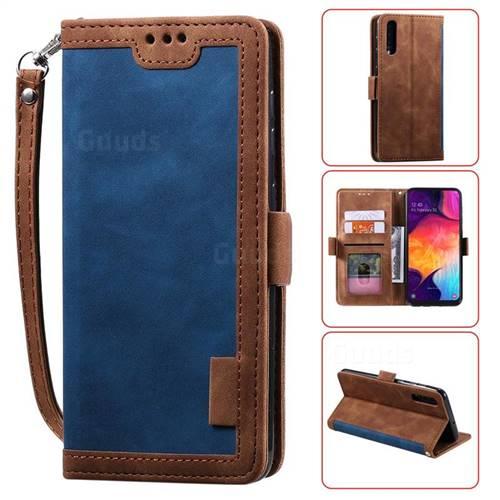 Luxury Retro Stitching Leather Wallet Phone Case for Samsung Galaxy A50 - Dark Blue
