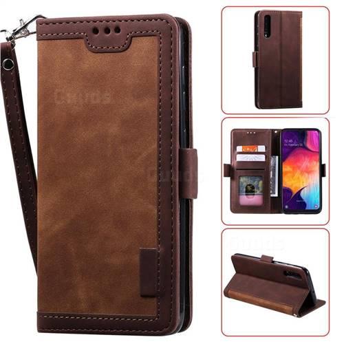Luxury Retro Stitching Leather Wallet Phone Case for Samsung Galaxy A50 - Dark Brown