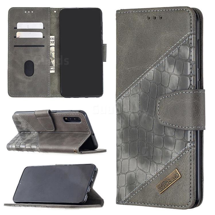 BinfenColor BF04 Color Block Stitching Crocodile Leather Case Cover for Samsung Galaxy A50 - Gray