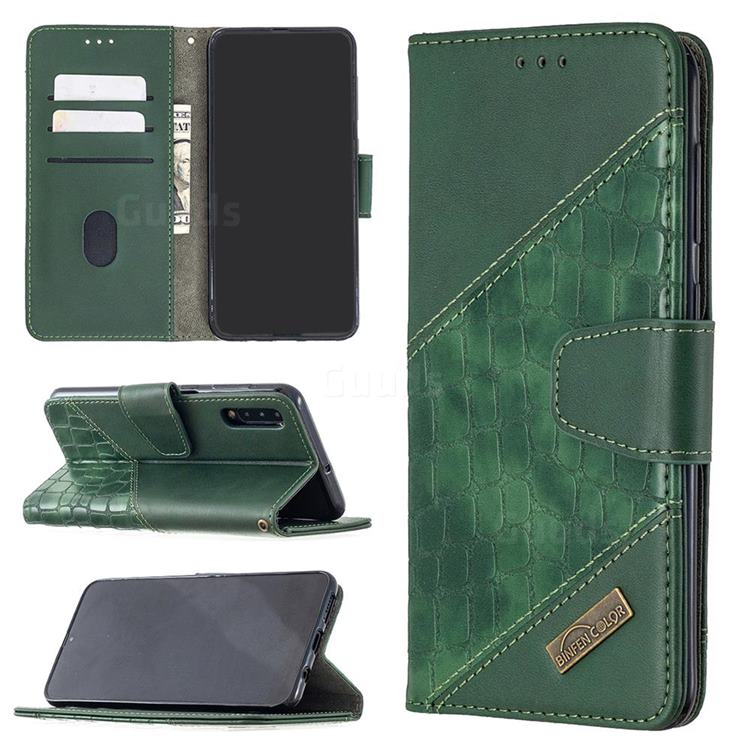 BinfenColor BF04 Color Block Stitching Crocodile Leather Case Cover for Samsung Galaxy A50 - Green