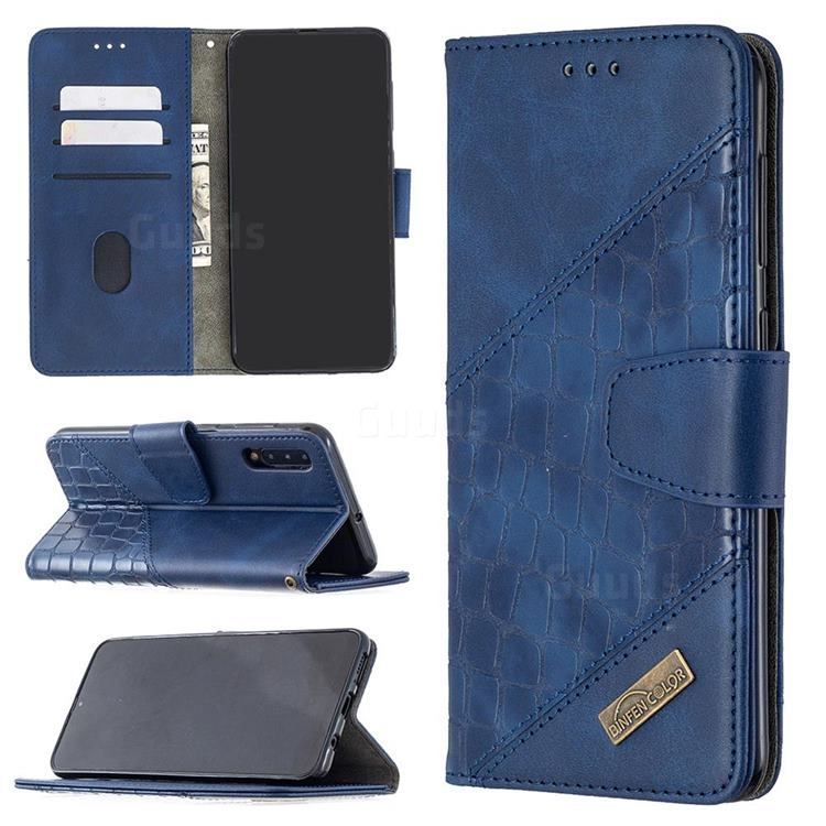 BinfenColor BF04 Color Block Stitching Crocodile Leather Case Cover for Samsung Galaxy A50 - Blue