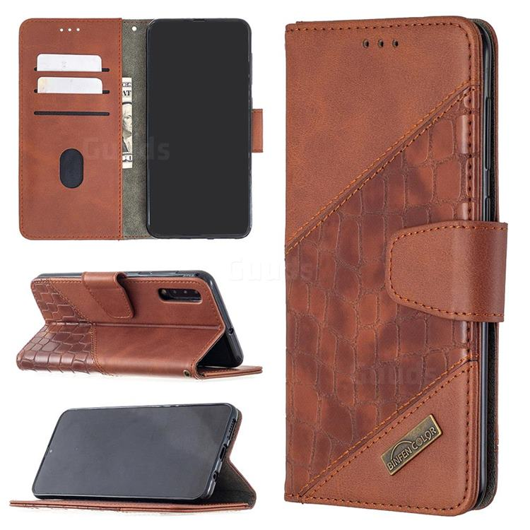 BinfenColor BF04 Color Block Stitching Crocodile Leather Case Cover for Samsung Galaxy A50 - Brown