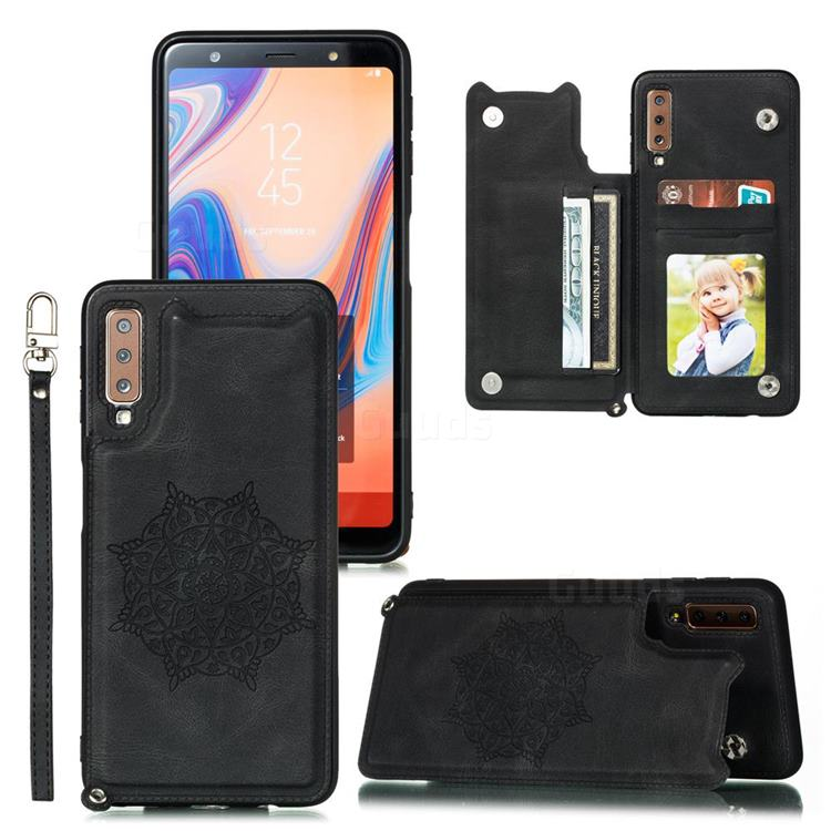 Luxury Mandala Multi-function Magnetic Card Slots Stand Leather Back Cover for Samsung Galaxy A50 - Black