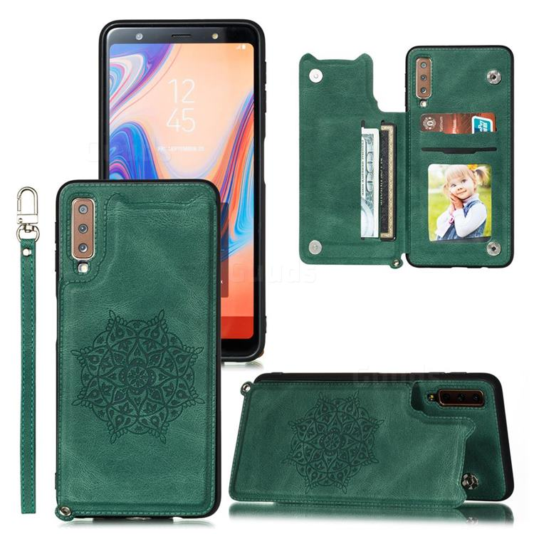 Luxury Mandala Multi-function Magnetic Card Slots Stand Leather Back Cover for Samsung Galaxy A50 - Green