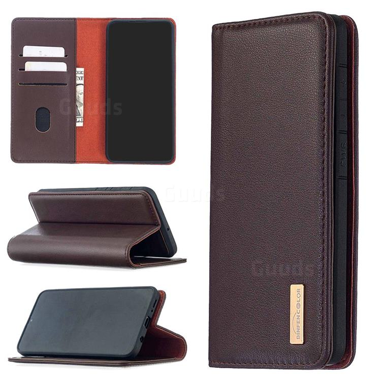 Binfen Color BF06 Luxury Classic Genuine Leather Detachable Magnet Holster Cover for Samsung Galaxy A50 - Dark Brown
