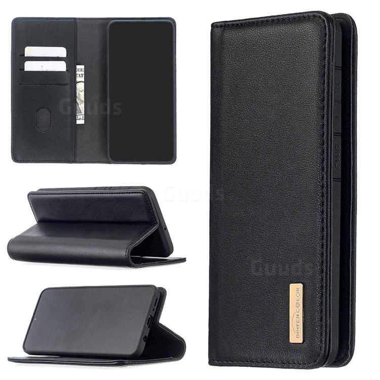 Binfen Color BF06 Luxury Classic Genuine Leather Detachable Magnet Holster Cover for Samsung Galaxy A50 - Black