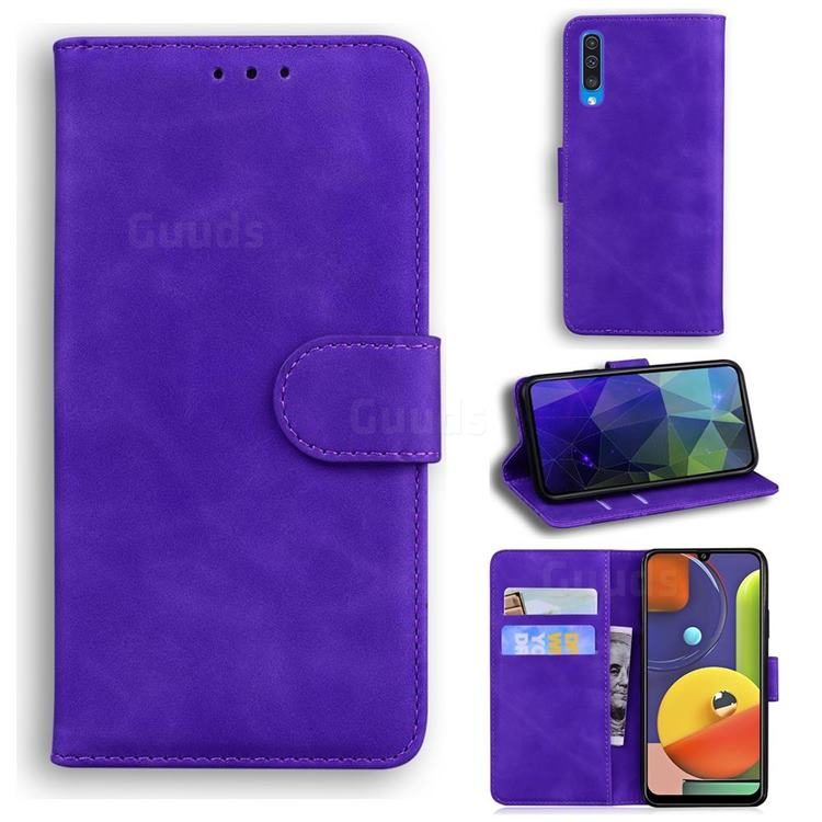 Retro Classic Skin Feel Leather Wallet Phone Case for Samsung Galaxy A50 - Purple