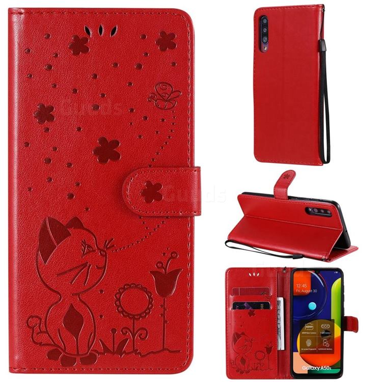 Embossing Bee and Cat Leather Wallet Case for Samsung Galaxy A50 - Red